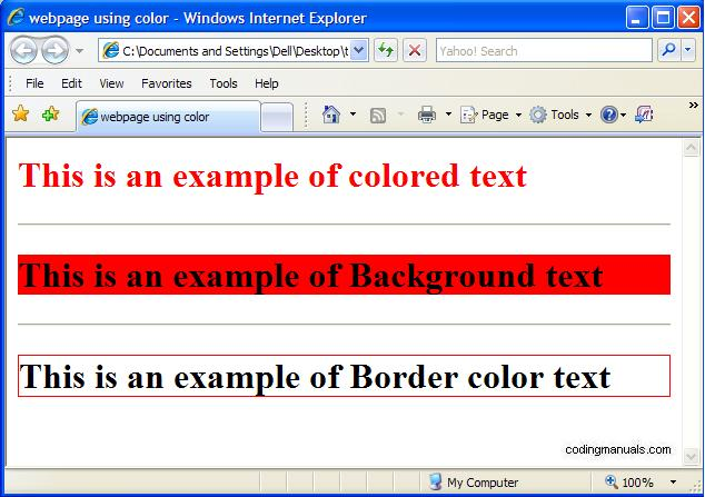 Html Color  Coding Manuals