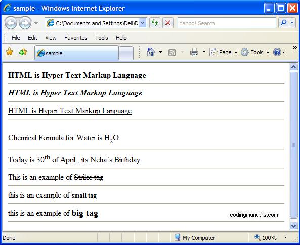 sample code using formatting tags